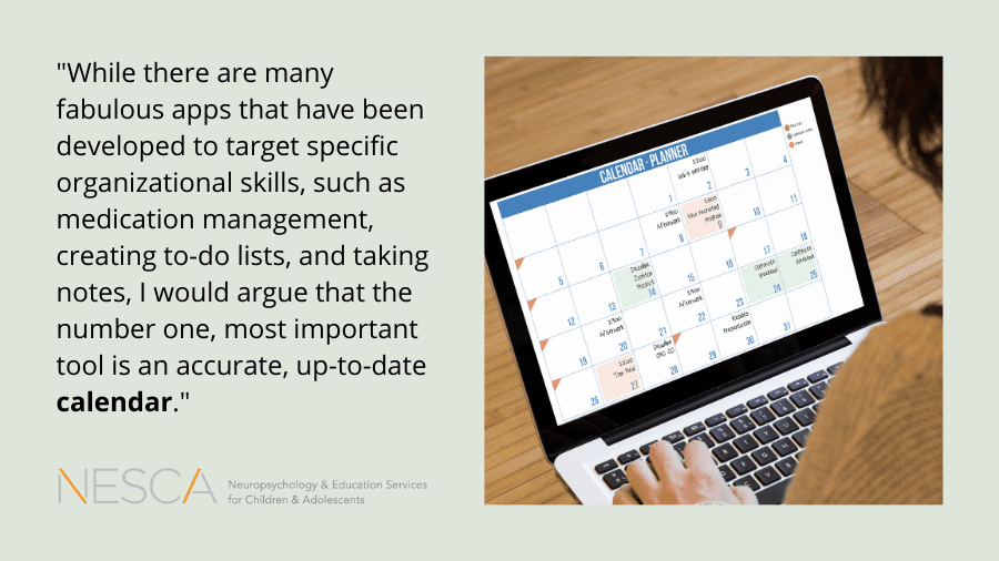 Executive Function Tools: The Calendar