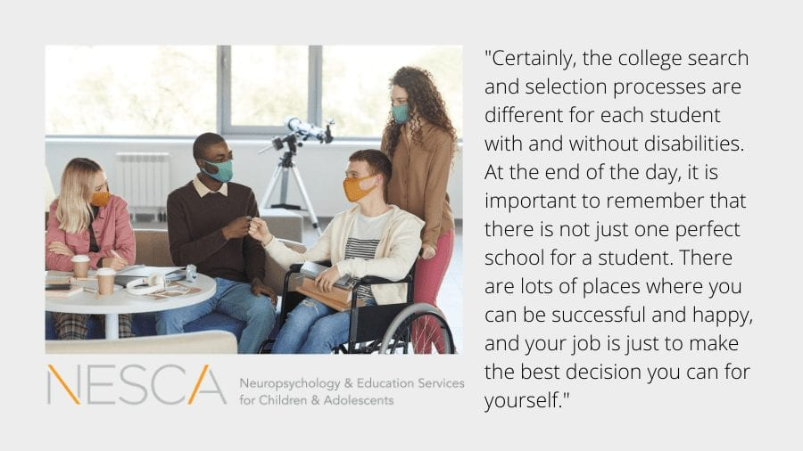 College Transition – Important Considerations for Students with Disabilities who are Making a Final Decision